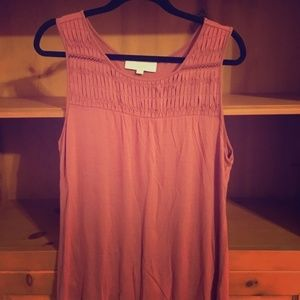 Rose LOFT Tank with Pintuck Detail - Size L - EUC
